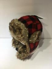 Russian Red Plaid Fur Earflap Winter Hat OSFA NWOT