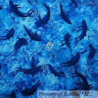 BonEful Fabric FQ Cotton Quilt Navy Blue Sea Ocean Water SHARK Fish Beach Boy NR