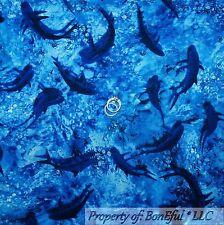 BonEful Fabric Cotton Quilt Blue Sea Ocean Water Bubble Baby SHARK Fish US SCRAP