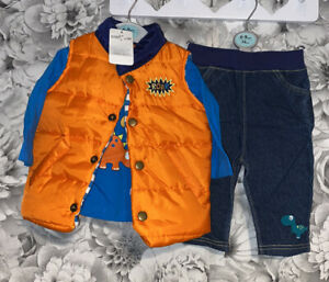 Boys Age 6-9 Months - BNWTS Outfit - Top / Jeans & Body Warmer