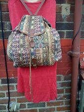 Vintage Leather trim Tapestry carpet Backpack rucksack large roomy killim Aztec