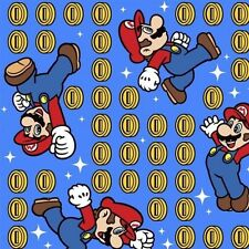 Nintendo Mario Brothers Video Game Mario and Coin Toss Cotton Fabric Fat Quarter