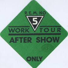 R.E.M. 1987 Work Tour Backstage Pass Aso, Green