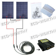 320W-2*160Watt Solar Panel W/ MPPT Controller Boat Home Cabin RV 24V Battery