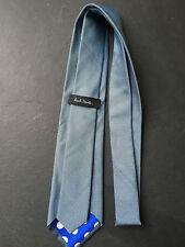 PAUL SMITH corbata de seda - Azul Micro Estampado - Forro De Lunares - 9cm Hoja