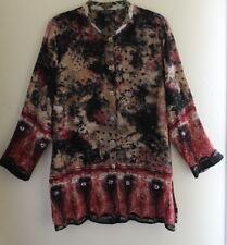 Citron Santa Monica - Sz 1X Gorgeous Funky Art Silk Feather Sequin Shirt Top