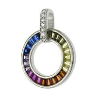 Baguette Multi Color Sapphire Circle Pendant Necklace in Solid Sterling Silver