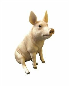 Sitting Pig Statue by Leonardo Collection Farmyard Pig Animal Ornament Figurine