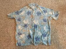 🌺 Shirt Pierre Cardin Men's XXXL 3XLT Tall Hawaiian Hibiscus Palms Blue Green