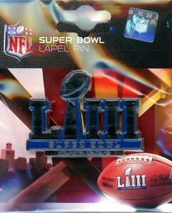 Super Bowl LIII Logo Pin Feb 3 2019 LA Rams NE Patriots Atlanta GA SB 53 NFL PSG