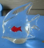 Vintage Blown Glass Angel Fish with small red Fish inside~ Paperweight