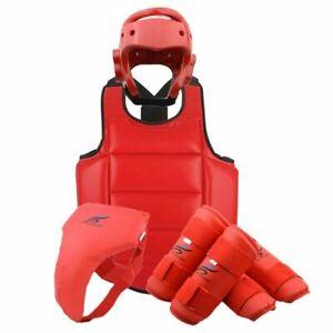 Kids Body Protection Helmet Chest Crotch Guard Set Black Belt Boxing Equipment