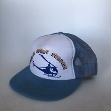 SPRAY SERVICE helicopter Truckers Hat Baseball Cap Blue Adjustable Plane