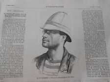 Gravure 1875 - Le Dr Harman chef de la mission scientifique en Indo Chine