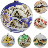 Glass Christmas Bauble 120mm Handmade & Painted Balls Baubles Ball Tree