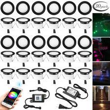30X Black 45mm RGBWW LED Deck Stair Step Soffit Lights Bluetooth APP Controller