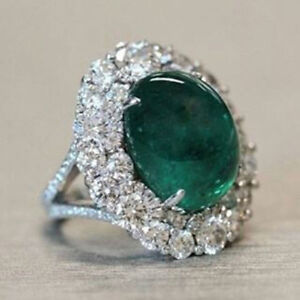 New Green Emerald Cabachon Cocktail Part Ring IN 925 Sterling Silver Gold Finish