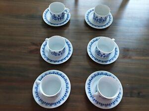 6 Tassen mit untere Melitta Friesisch blau Neu