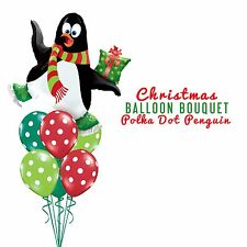 Party Supplies Christmas Polka Dot Penguins Foil Balloons Bouquet