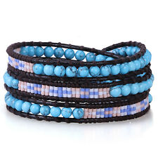 KELITCH New 3 Wrap Bracelet Turquoise Seed Beads on Leather Fashion Bangle Cuff