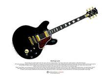B. B. King's Lucille guitar ART POSTER A3 size