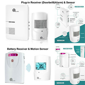 1000ft 1byone Battery/UK Plug Doorbell Driveway Alarm Alert System Motion Sensor