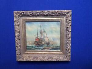 vintage marine seascape with gallion ships a framed oil on canvas signed jw