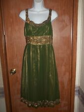 NWT~ADRIANNA PAPELL SHORT 100% SILK EVENING WEAR DRESS~SZ 4~OLIVE/GOLD~RET. $200