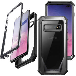Galaxy S10 Plus Case Poetic Clear PC Back TPU Bumper Drop Protection Cover Black