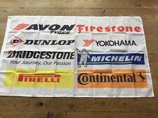 Tyre garage Firestone Pirelli Bridgestone Avon Dunlop workshop flag banner