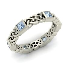 Wedding Band Ring 14k White Gold Certified Princess Cut Aquamarine Celtic Knot