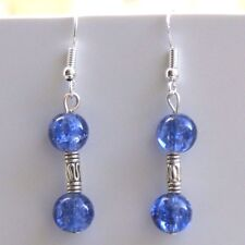Dangle Earrings Blue Crackle Glass Sterling Silver Hooks New Drops LB1245