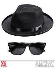 2 tlg bleu un chapeau U Lunettes Noir Al Capone,,style gangster,Carnaval Homme