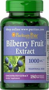 [2-Pack] Puritan's Pride Bilberry Fruit Extract 1000mg 180 Count X2, Antioxidant