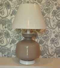 Vintage Hollywood Regency MCM Giant Large Glass Table Lamp Warm Beige