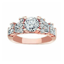 Solitaire 2.05 Ct 14K Rose Gold Diamond Engagement Ring Round Cut Moissanite