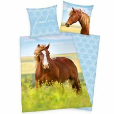 FREEDOM HORSE SINGLE DUVET COVER SET 100% COTTON REVERSIBLE KIDS GIRLS
