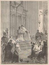 C1320 Roma - La Grande Penitenza in San Pietro - Xilografia - 1867 old engraving