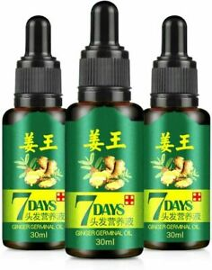 3PCS Regrow 7 Day Ginger Germinal Hair Growth Serum Hair Loss Treatment Oil 30ML