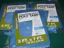 3 Yardworks 5'x7' Blue Standard Duty Poly Tarps 3.5 Mil 8 x 8 Weave NEW