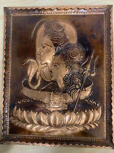 Vintage 3D Wall Hanging Art Embossed Copper Asian Hindu God Lord Shiva & Parvati