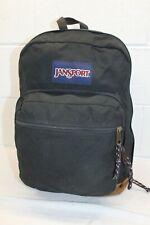Vintage Black JanSport Backpack Book Bag RuckSack Leather Bottom CLEAN! Travel