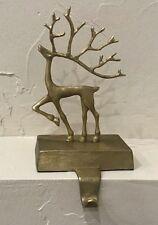 Pottery Barn Merry Reindeer stocking Holder hanger Christmas gold BRASS small