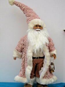 Weihnachtsmann groß DEKO 95 cm stehend Weihnachten Santa Rosa Laterne Nikolaus