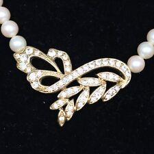 VTG Crown Trifari Necklace Simulated Pearl Gold-Tone Rhinestone Jewelry Evening