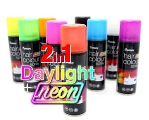 UV Neon Hair Spray Fluorescent Adults Kids Temporary Wash Out Coloured Can Dye