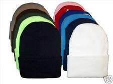 12PK KNIT BEANIES SKI CAPS CAP HAT HATS LONG CUFFED