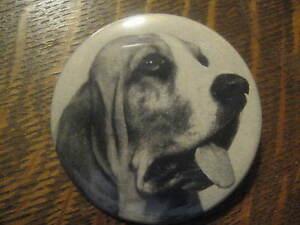 Basset Hound Pard Dog Food Pet Mid Century 1951 B & W Advertisement Button Pin