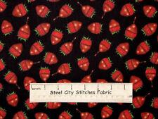 RJR Sugar Rush Dan Morris Chocolate Covered Strawberry Black Cotton Fabric YARD