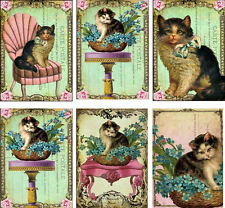 Vintage inspired cat small note card tags set of 5 with envelopes